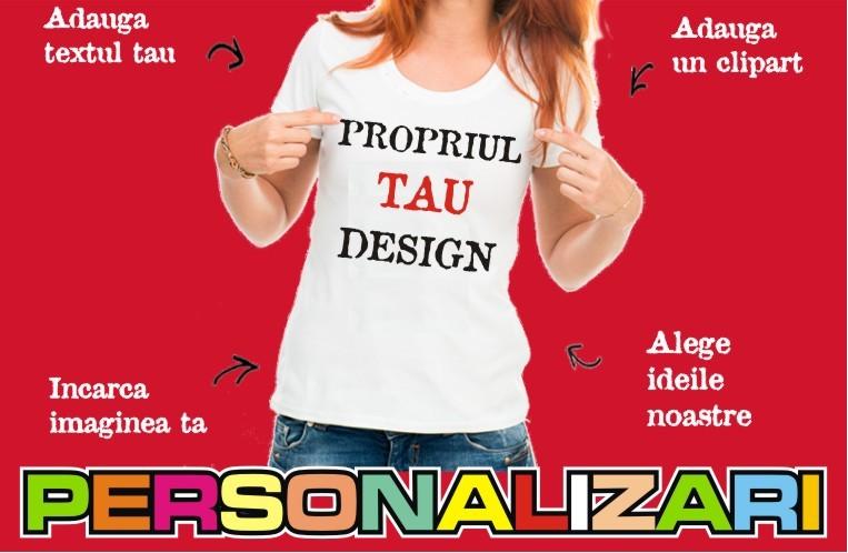 """<h2>PROPRIUL TAU DESIGN</h2> <p>Click pe imagine si profita de aplicatia noastra de realizare a unui tricou asa cum doriti.</p><a href=""""http://www.personalizari.com/lucru/""""></a>"""